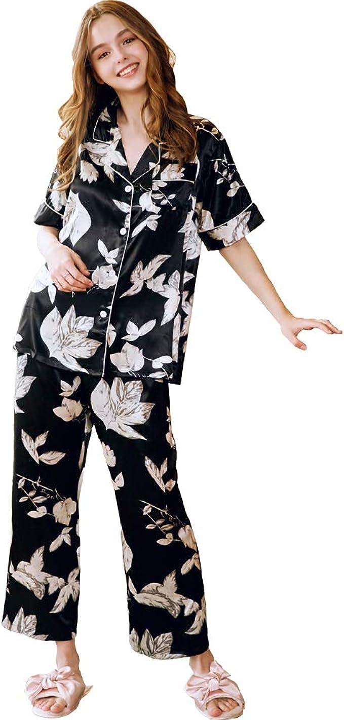 ENJOYNIGHT Womens Tie Dye Printed Pajama Sets Sleepwear Top with Capri Pants Lounge Sets with Pocket