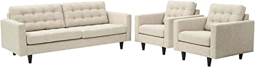 Modway Empress Mid-Century Modern Upholstered Fabric Sofa and Two Armchair Set in Beige