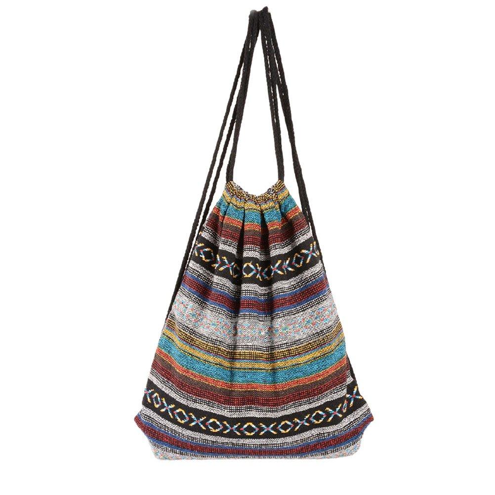 Yiuswoy Boho Style Fabric Linen Drawstring Backpack Lightweight Gymsack Sports Bag PE Bag Swimming Bags Canvas Drawstring Rucksack - Model B