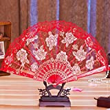 Mikey Store 1PC Multi-color Dance Party Wedding Lace Flower Folding Hand Held Flower Fan (Red)