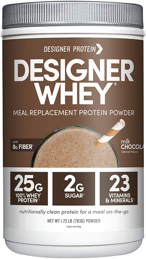 Designer Whey Protein Meal Powder, Milk Chocolate, 1.72 Pound, Non GMO, Made in the USA