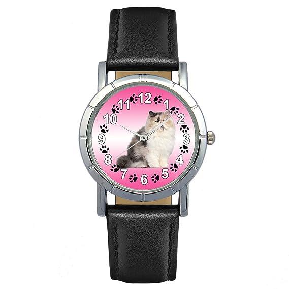 Timest - Gato Persa - Reloj para mujer con correa de cuero negro Analógico Cuarzo SA2603: Timest: Amazon.es: Relojes