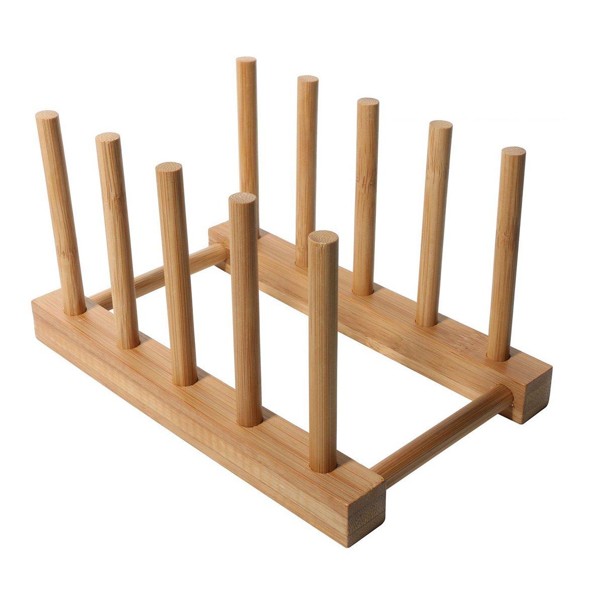 Home Kitchen Bamboo Plate Rack/Pot Lid Holder Detearing Holder detachable Crazy Ant