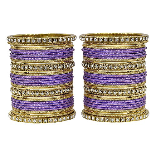 MUCH-MORE Fabulous Collection of Multi Color Crystal Bangles Set Indian Jewellery for Women's (Purple, 2.6)