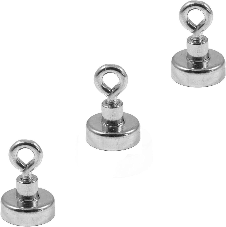Magnetastico® | 3 Piezas imanes con hembrilla de neodimio N35 20 mm Ø | Fuerza de atracción 9.0 kilogramos | 3 imanes de neodimio con argolla, Muy potentes y galvanizados