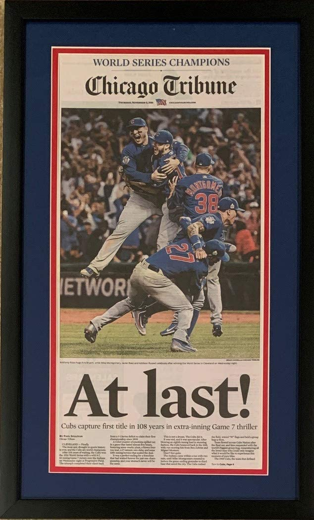 Chicago Cubs 2016 World Series Baseball Champions AT LAST Tribune Framed Newspaper BLACK FRAME ORIGINAL FRONT PAGE