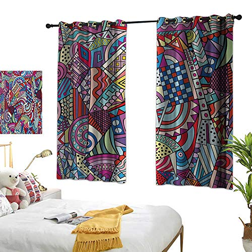 lic Customized Curtains Colorful Funky Art 90s Stained Glass Style Triangle Squares Modern Art Print W55 x L39,Suitable for Bedroom Living Room Study, etc. ()