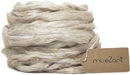 Muezart 100/% Undyed Eri Silk Silk roving Tops Long Fiber Felting 100gms Natural Color Silk Fiber for Spinning Blending
