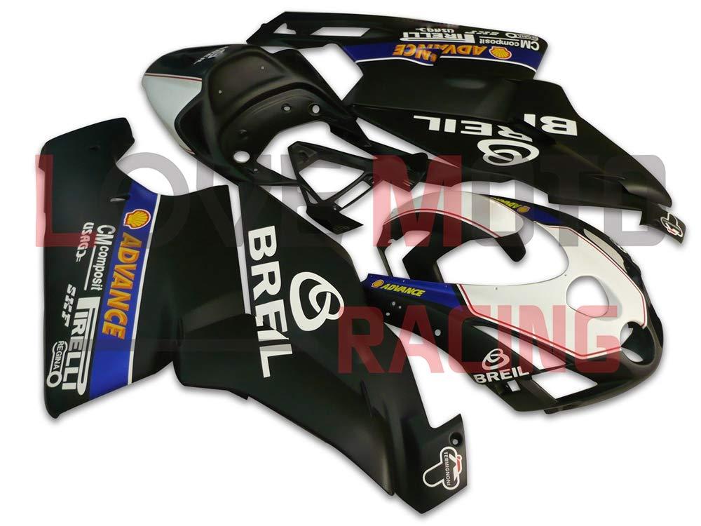 LoveMoto ブルー/イエローフェアリング デュカティ ducati Monoposto 2003 2004 999 749 03 04 ABS射出成型プラスチックオートバイフェアリングセットのキット ブラック ホワイト   B07KQ4L6YH