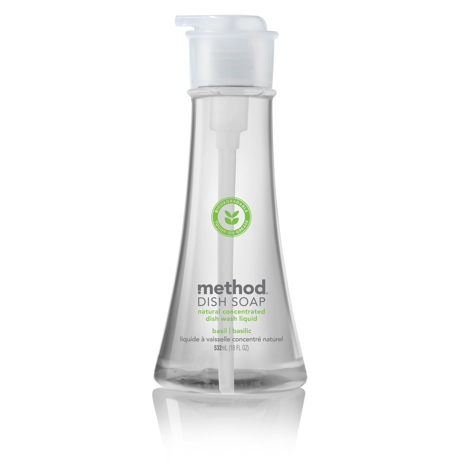Method Natural Concentrated Pump Dish Soap, Basil, 18 Ounce (Pack of 2)
