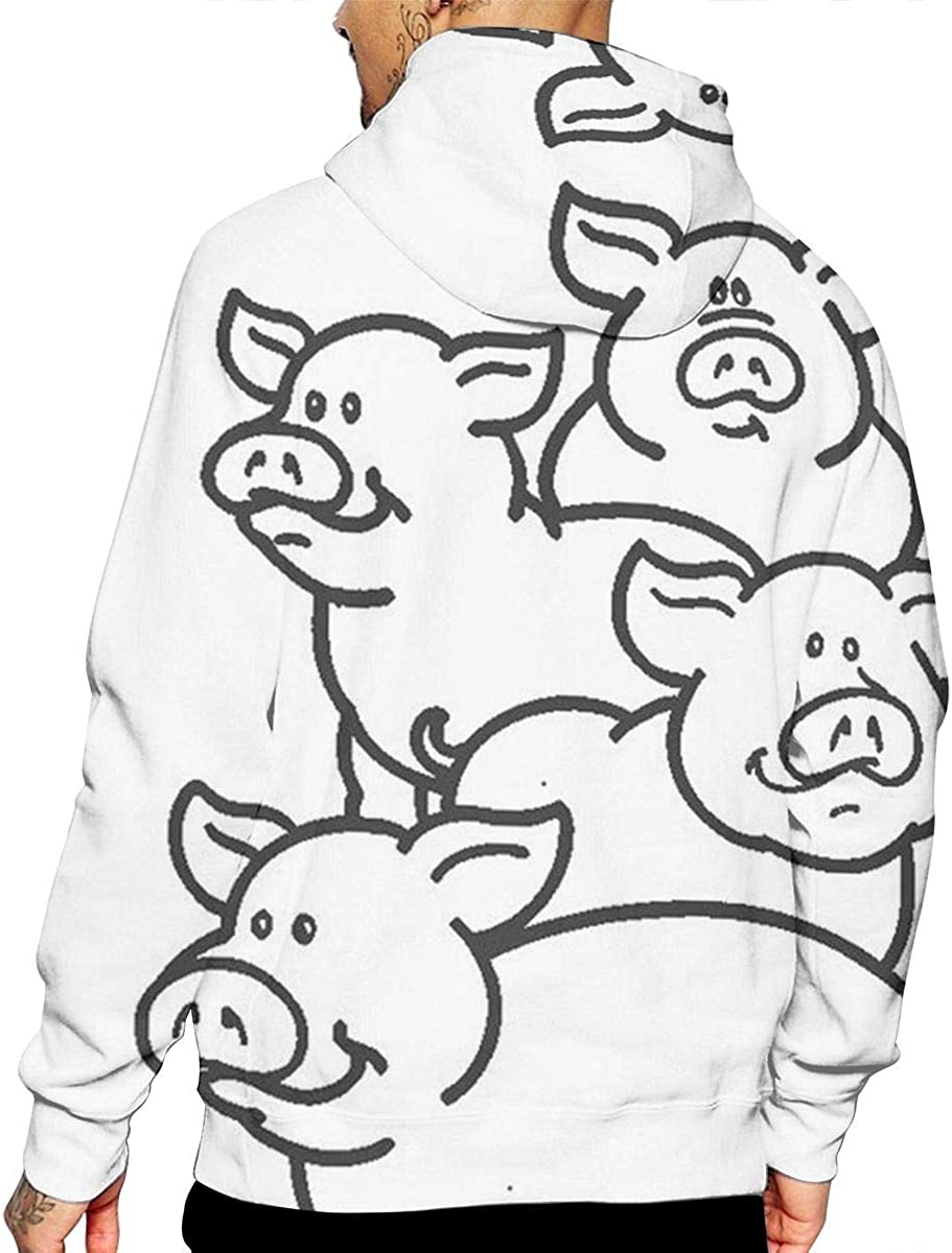 Pigs T-Shirt Hooded with A Pocket Rope Hat Customization Fashion Novelty 3D Mens