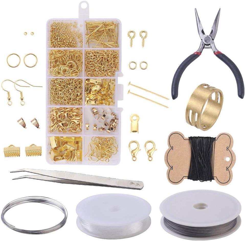 Frfjy Pendientes Hecho a Mano Accesorios Material Kit Juego de Herramientas Bricolaje Joyería Accesorios para Collar Creación Reparación Hacer Joyas Accesorios (Dorado/Plateado/Antiguo Verde) - Oro
