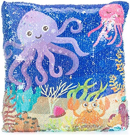 Master Toy Sea Life Octopus Sequin Ocean Blue 14 x 14 Polyester Fabric Decorative Throw Pillow