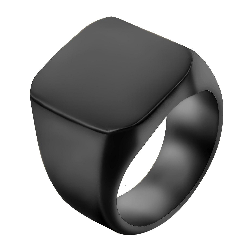 JewelryWe Schmuck Biker Edelstahl Herren-Ring, Glänzend Poliert Siegelring Quadrat Band Ring, Schwarz Größe 54 bis 74 - mit Geschenk Tüte