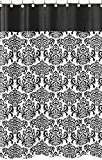Black and White Isabella Kids Bathroom Fabric Bath Shower Curtain by Sweet Jojo Designs