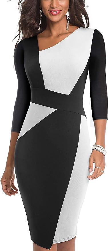 HOMEYEE Vestido sin Mangas de Negocios con Contraste en Color elástico Vintage de Mujer B517 (EU 36 = Size S, Blanco + Negro-L)