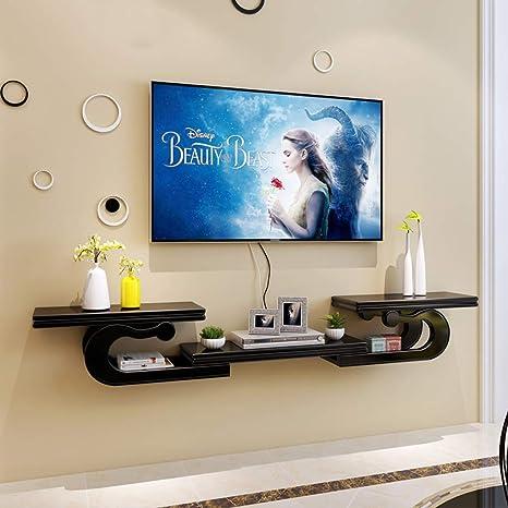 Mueble de TV montado en la Pared Estante de Pared Estante Flotante Consola Multimedia Soporte de TV Soporte de Pantalla Multifuncional Estante de Almacenamiento (Color : Negro): Amazon.es: Electrónica
