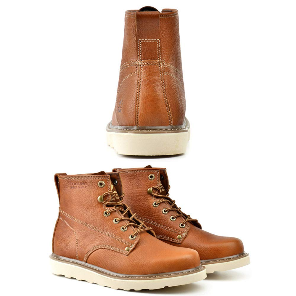 GZZ GZZ GZZ Schuhe Herren Martin Stiefel Herbst Winter Outdoor Ausrüstung Schnee Lederstiefel Rutschfeste Halten Sie Sich Warm,Light-braun-43 1afdb8