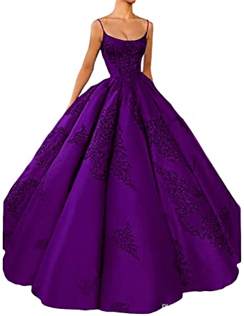 add83536987e CIRCLEWLD Appliques Satin Ballgown Evening Dresses Spaghetti Strap Prom  Princess Gown Purple Size 20W