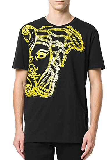 b7c86b18d556 Amazon.com  Versace Collection Medusa Print T-Shirt, Black (Large ...