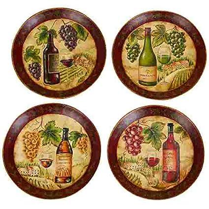 Wine Grape Decorative Round Ceramic Accent Plate 10-inch (1-pc at  sc 1 st  Amazon.com & Amazon.com: Wine Grape Decorative Round Ceramic Accent Plate 10 ...