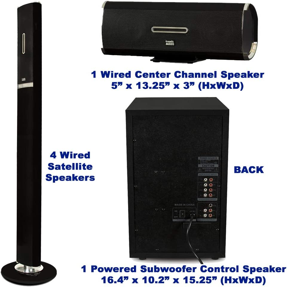 Acoustic Audio AAT2002 Tower 5.1 Home Theater Bluetooth Speaker System and 2 Extension Cables