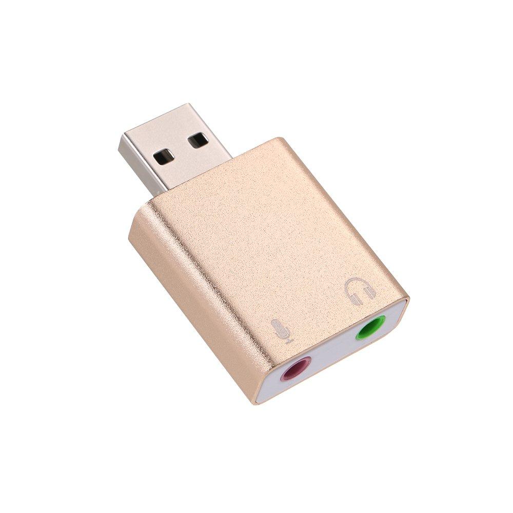 Docooler Aleación de Aluminio USB Adaptador de Sonido estéreo Externo Tarjeta de Sonido de Audio USB Virtual 7.1 Micrófono convertidor con Conector de ...