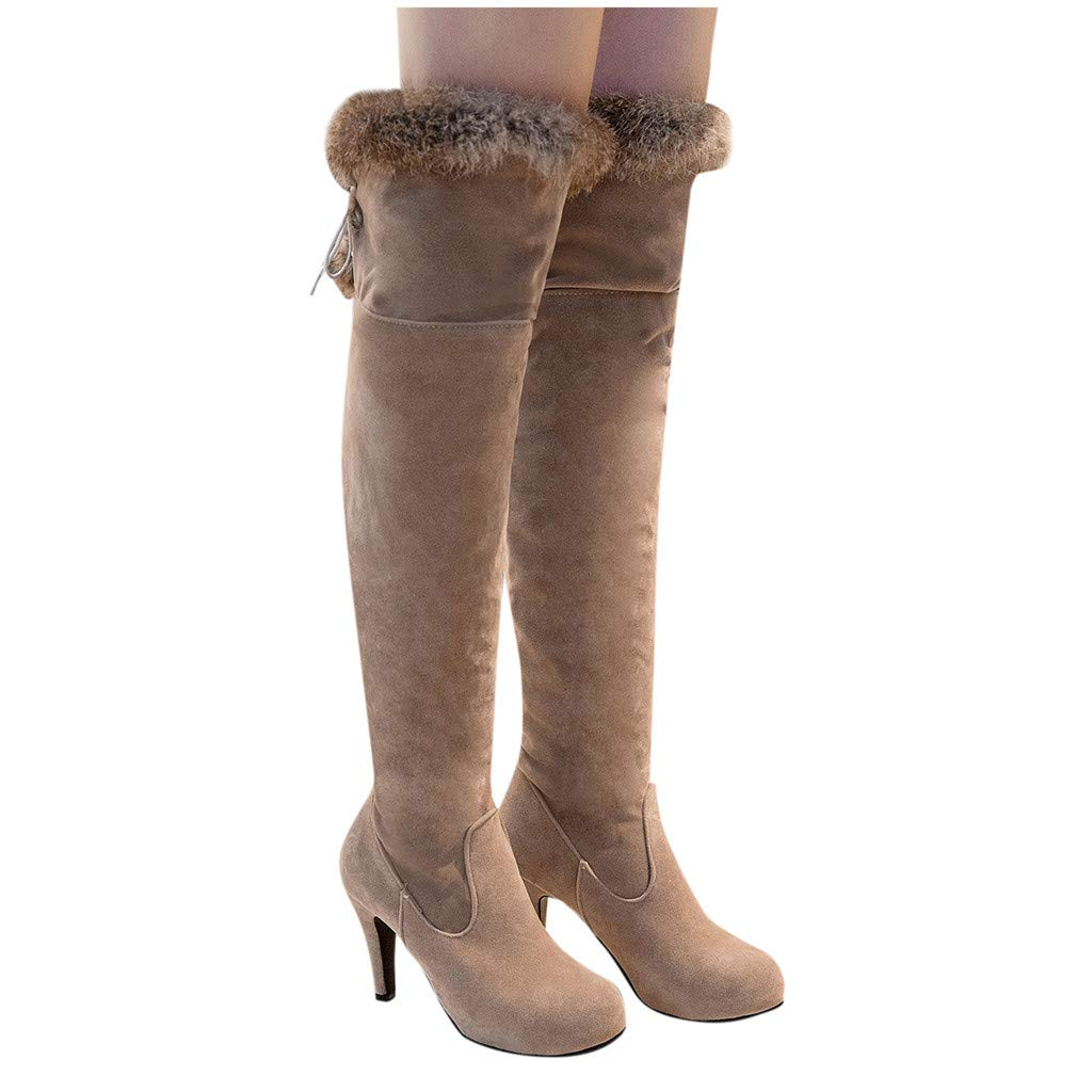 Over The Knee Boots for Women Sexy Thigh Pull on Comfort Booties Drawstring Stretchy High Heel Wedding Dress Boots (US:8.5, Beige) by Dasuy