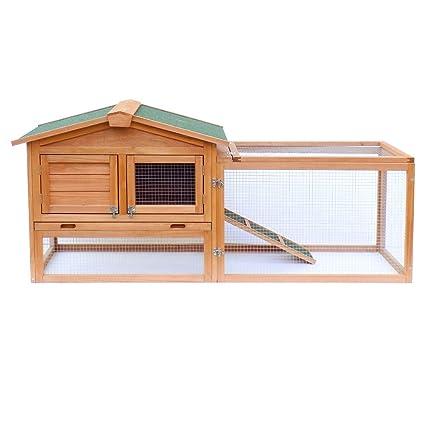XXL conejera caseta conejos recinto descubierto amplio refugio madera abeto tejado asfalto corral: Amazon.es: Productos para mascotas