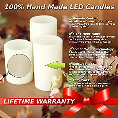 Genuine Wax Flameless LED Candle Set of 3 Pillars - Auto Timer & Remote Control - Battery Operated