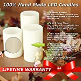 Genuine Wax Flameless Candle Set - LED Candle Set of 3 Pillars - Auto Timer & Remote Control - Battery Operated