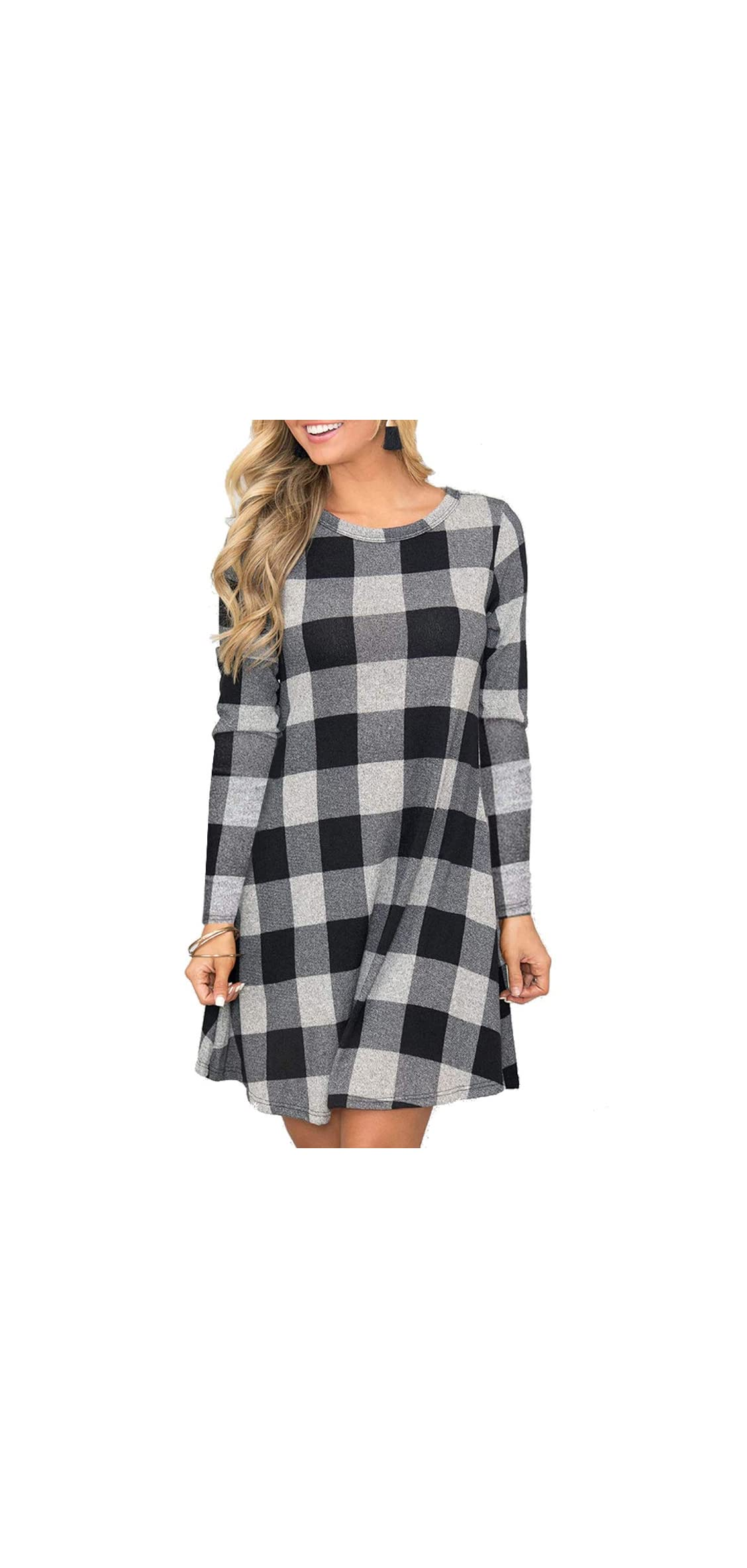 Women's Long Sleeve Plaid Color Block Casual Swing Loose