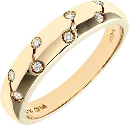 anillo de oro amarillo con diamantes blancos pequeños de 0.1 quilate
