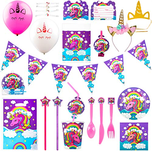 Unicorn Party Supplies Pack – Misty Mountain 163 Pc Unicorn Birthday Party Decorations w/Kids Unicorn Headband Set and Unicorn Party Favors for Kids