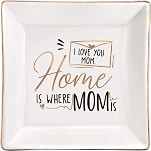 ElegantPark Mom Gifts for Birthday from Daughter Ring Dish Ceramic Jewelry Dish Mother's Day Thanksgiving Day for Mom Home is Where Mom is I Love You Mom Trinket Plate