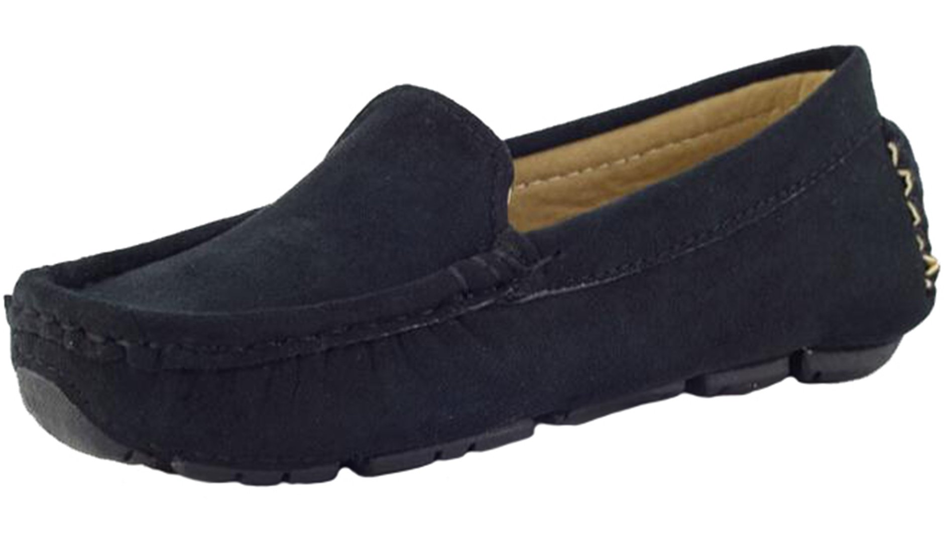 PPXID Girl's Boy's Suede Slip-on Loafers Casual Shoes(Toddler/Little Kid/Big Kid)-Black 8 US Size