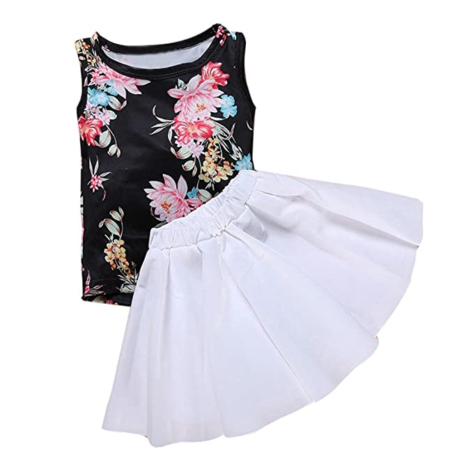 Uk Infant Kids Baby Toddler Floral Printed Skirt Dresses Tutu 2 Pcs Outfits Set Clothing, Shoes & Accessories Girls' Clothing (newborn-5t)
