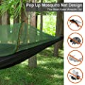 OTraki Camp Hammock with Pop Up Mosquito Net 3.9 x 8ft Free Straps and Carabiners Support 440lbs Portable Single Person Parachute Hammock Anti-Mosquito Tent for Outdoor Travel Hiking Backpacking