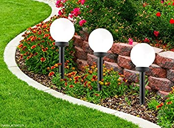 9302 Solar Kugellampe Leuchtkugel Solarkugel Gartenlampe Dämmerungssensor Weiß