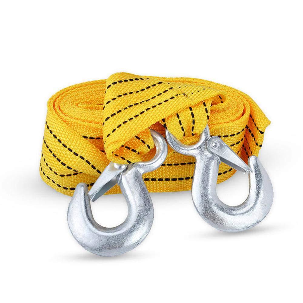 KOBWA - Cuerda de remolque para coche, 3 toneladas, 4 m, resistente, correa de remolque con ganchos, cable de remolque de polié ster para coche cable de remolque de poliéster para coche