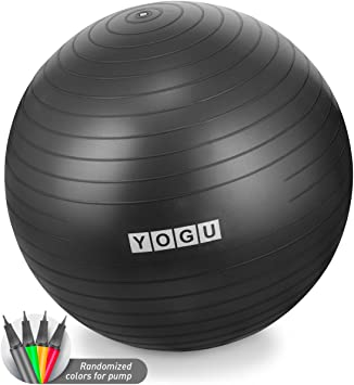 YOGU Stability Exercise Ball 65cm Yoga Balance Ball Birthing Ball with Air Pump Anti-Slip & Anti-Burst Supports 2000lbs Great for Yoga Pilates ...