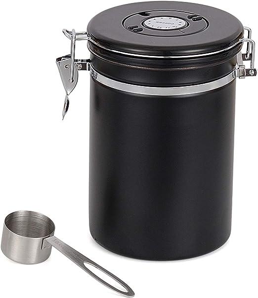 Kaffeedose, Lebensmittelversiegelte Edelstahldose mit Löffel Vorratsdose Luftdicht Vorratsbehälter für Kaffeebohnen Pulver, Tee, Nüsse, Kakao,