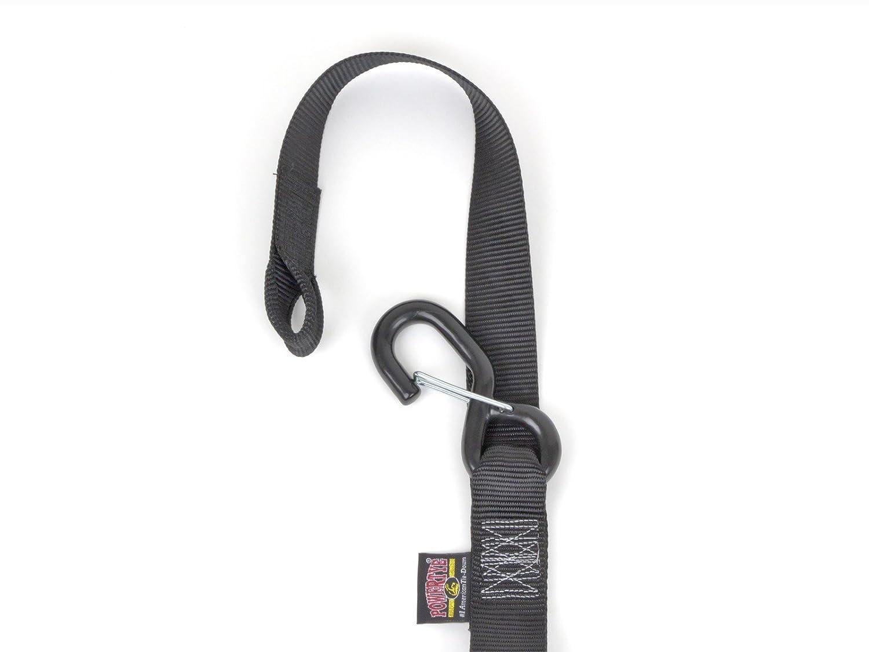 Black//Black 1/½ x 6/½ft PowerTye Made in USA Ergonomic Locking Ratchet Soft-Tye Tie-Downs with Heavy-Duty Latch Hooks pair