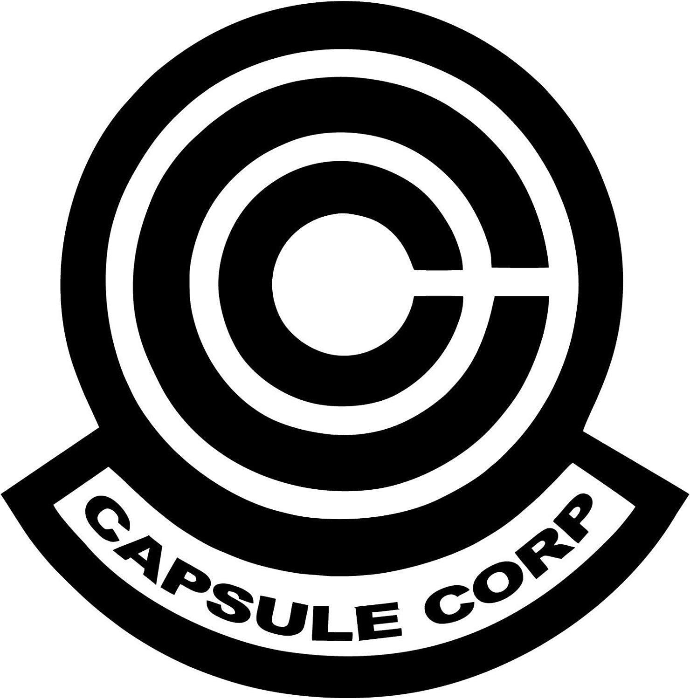 "DBZ 5.5"" Tall CAPSULE CORP LOGO Die Cut Decal Dragon Ball Sticker for Laptop Car Window Tablet Skateboard - BLACK"