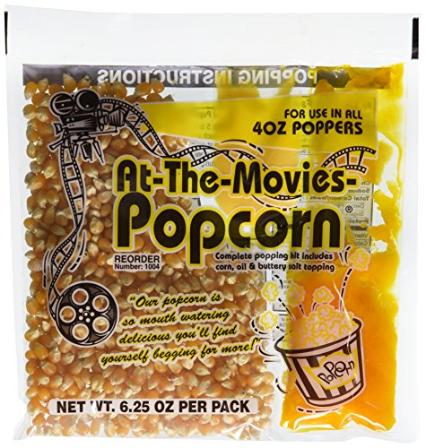 (At-The-Movies Popcorn & Coconut Oil Portion Packs-Case of 24 (4oz Kettle))