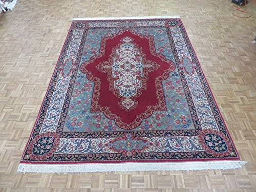 9 X 12 Hand Knotted Red Fine Kerman Design Rug 300 Kpsi G201