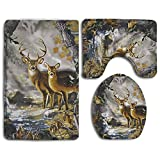 Real Tree Camouflage Deer 3-Piece Soft Bath Rug Set Includes Bathroom Mat Contour Rug Lid Toilet Cover Home Decorative Doormat