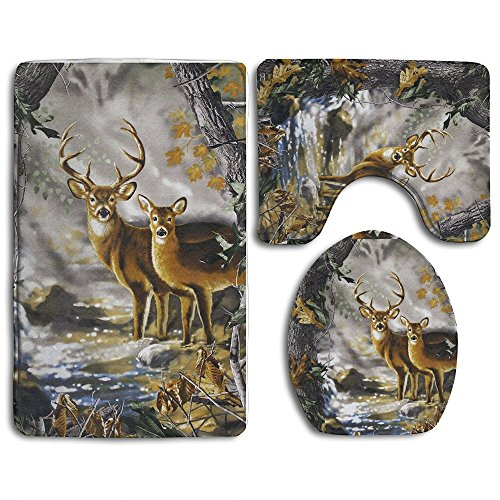 Real Tree Camouflage Deer 3-Piece Soft Bath Rug Set Includes Bathroom Mat Contour Rug Lid Toilet Cover Home Decorative (Deer Bath)