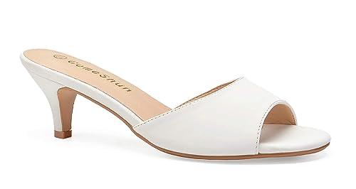 hot sale online online for sale sale usa online ComeShun Women Low Kitten Heel Mules Slip On Sandals Open Peep Toe Dress  Pumps