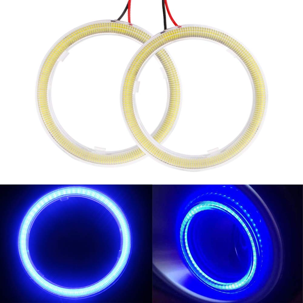 EverBrightt 1-Pair White 70MM 60SMD COB LED Headlight Angel Eyes Bulb Halo Ring Lamp Light with Housing